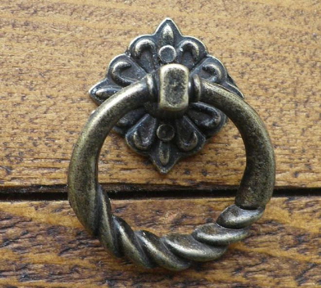 NEW Pair of Zinc Alloy drop ring  handles ornate castings antique finish C077
